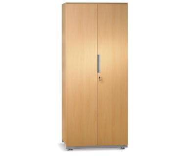 Βιβλιοθήκη με 2 πόρτες και 4 ράφια σε απόχρωση μελαμίνης ανοιχτής οξυάς, διαστ. 80x44,5x189,5εκ.