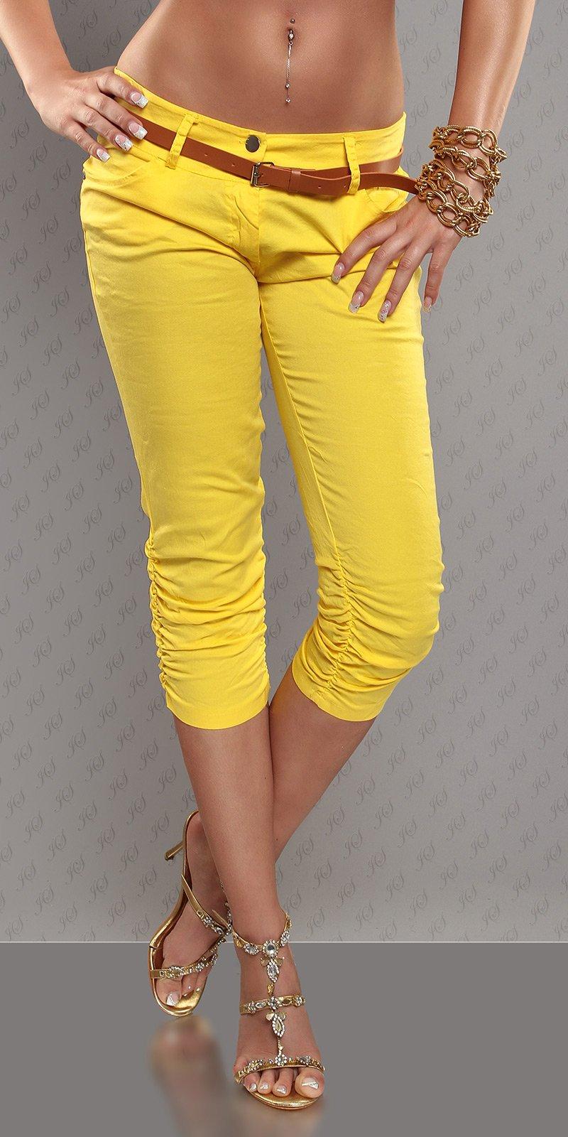 Βαμβακερό κάπρι παντελόνι με ζώνη-Κίτρινο