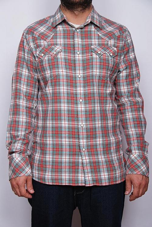 Levi's - long sleeve check shirt Orange/peach - khkai/green